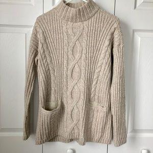 Abercrombie Mock Neck Tunic Sweater, oatmeal, S